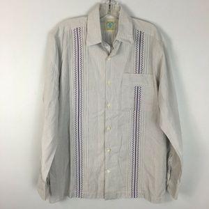 Dos Carolinas Men's Guayabera Button Front Shirt